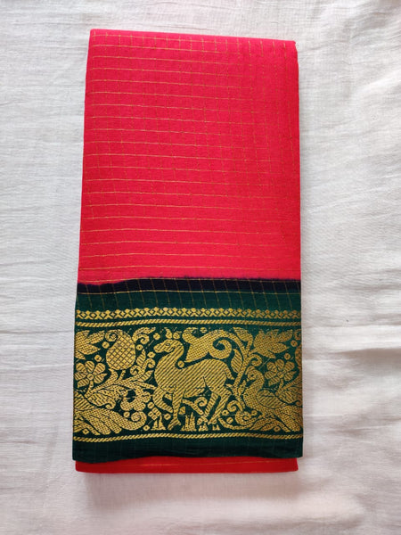 Pink With Green Border Madurai Sungudi Saree- Double Side Jari Border Jari Check