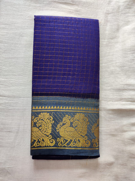 Blue With Gray Border Madurai Sungudi Saree- Double Side Jari Border Jari Check