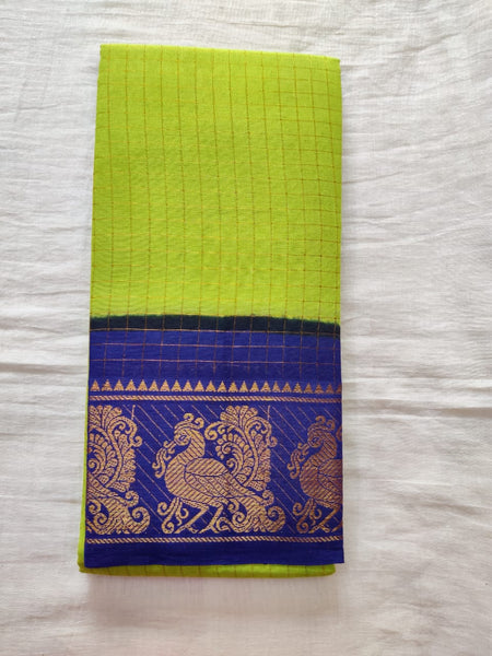 Pear Green With Blue Border Madurai Sungudi Saree-  Double Side Jari Border Jari Check