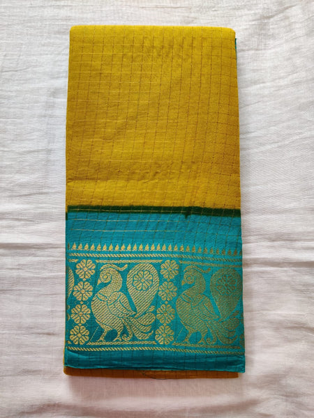 Mustard With Green Border Madurai Sungudi Saree- Double Side Jari Border Jari Check