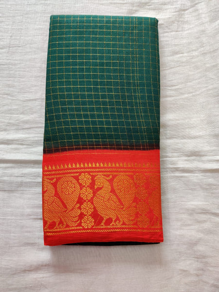 Green With Orange Border Madurai Sungudi Saree- Double side Jari Border Jari Check