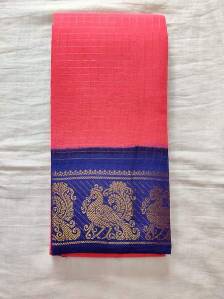 Salmon Pink With Blue Border Madurai Sungudi Saree- Double side Jari Border Jari Check