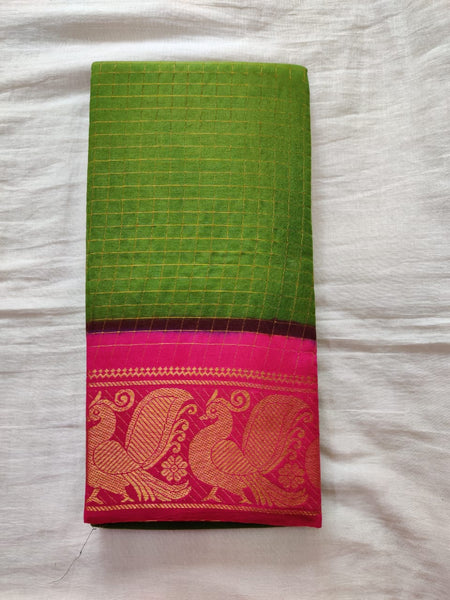 Pear Green With Pink Border Madurai Sungudi Saree- Double side Jari Border Jari Check