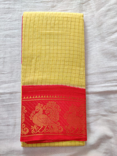 Sandal With Red Border Madurai Sungudi Saree- Double Side Jari Border Jari Check