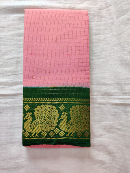 Baby Pink With Green Border Madurai Sungudi Saree- Double Side Jari Border Jari Check