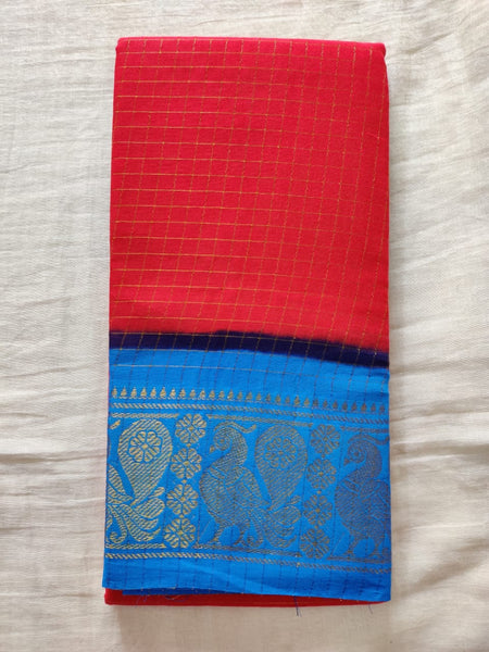 Rose Pink With Blue Border Madurai Sungudi Saree- Double Side Jari Border Jari Check