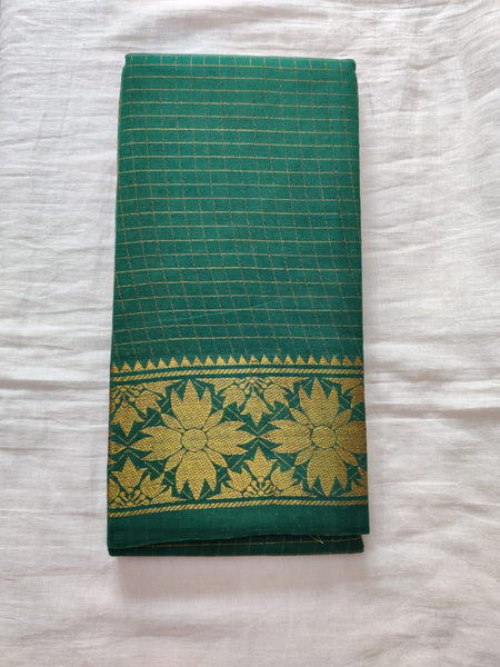 Green With Golden Border Madurai Sungudi Saree- Double Side Jari Border Jari Check