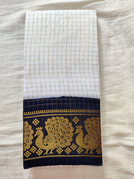 White With Black Border Madurai Sungudi Saree- Double Side Jari Border Jari Check
