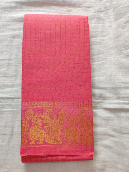 Magenta With Golden Border Madurai Sungudi Saree- Double Side Jari Border Jari Check