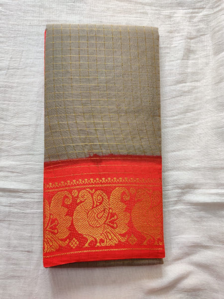Gray With Orange Border Madurai Sungudi Saree-  Double Side Jari Border Jari Check