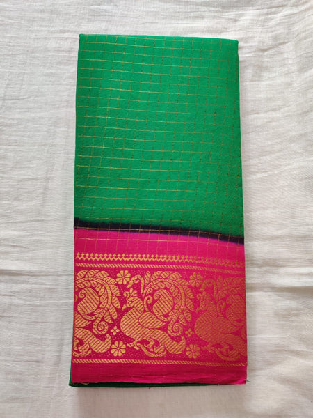 Green With Pink Border Madurai Sungudi Saree- Double Side Jari Border Jari Check