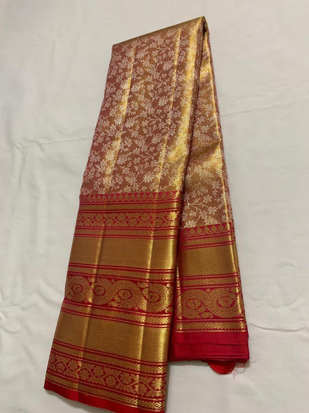 Maroon With Red and Golden Border Kancheepuram Pure Silk Saree