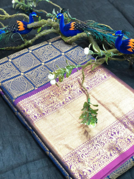 Dark Blue With Purple Golden Border Banarasi Silk Saree (Blend)