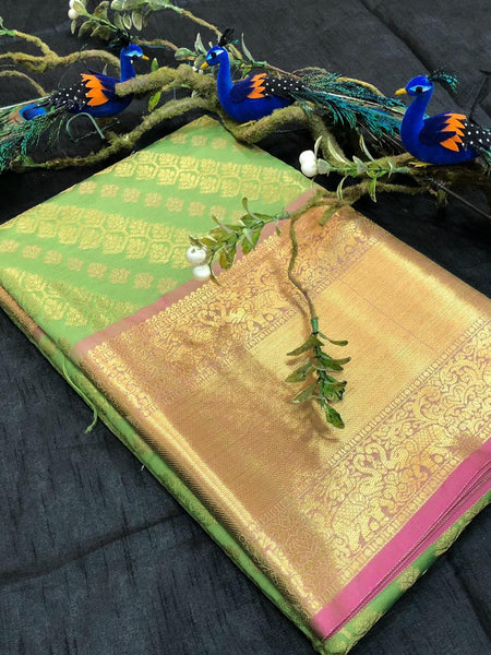 Green Pink With Golden Border Banarasi Silk Saree (Blend)