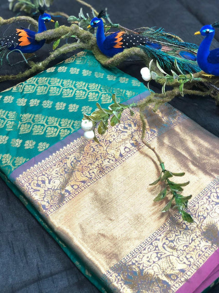 Leaf Green With Purple Green Border Banarasi Silk Saree (Blend)