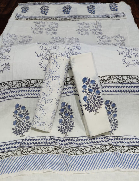 Blue With Gray & White Handblock Printed Cotton Dress Material