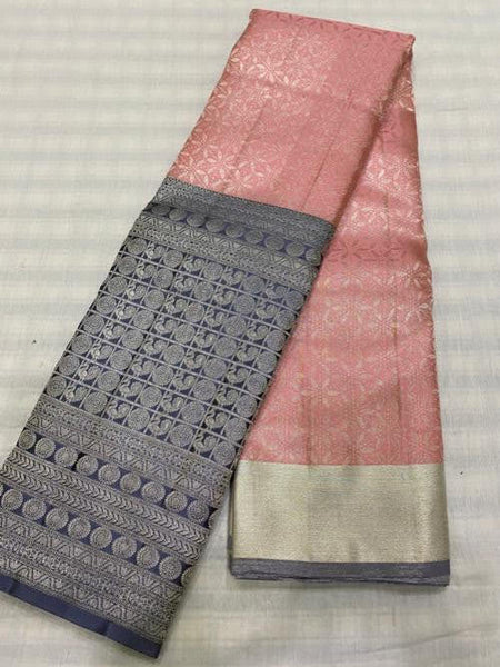 Lemonade Pink With Gray Border Kancheepuram Pure Silk Saree