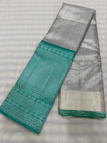 Gray With Mint Green Border Kancheepuram Pure Silk Saree
