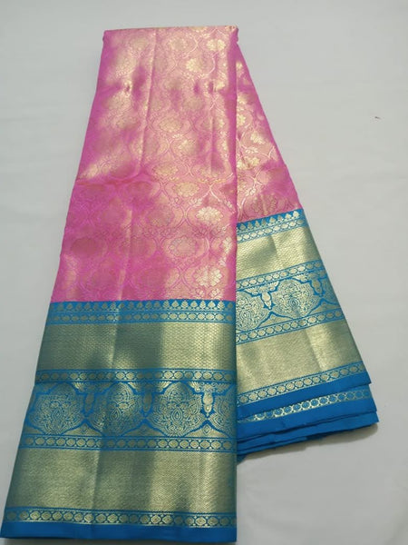 Pink With sky Blue Border Kancheepuram Pure Silk saree