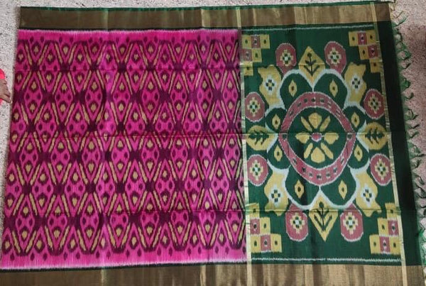 Hot Pink with Green Zari Border Ikkat Sico Saree