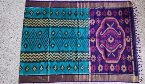 Sky Blue With Violet And Peach Zari Border Ikkat Sico Saree