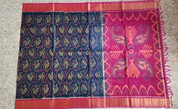 Ink Blue with Pink Zari Border Ikkat Sico Saree