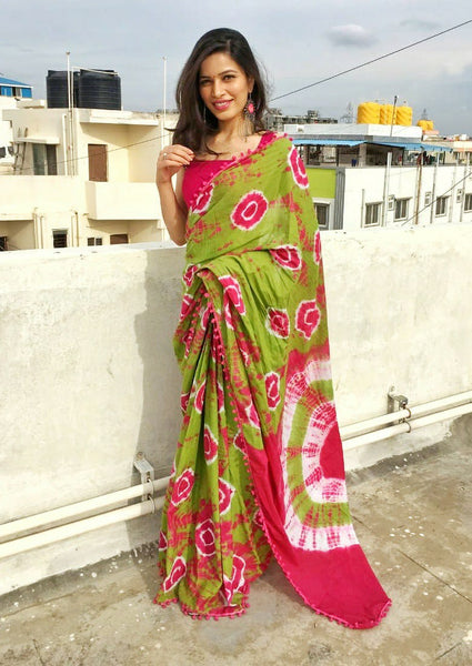 Pink and Green Combo Jaipuri Cotton Saree
