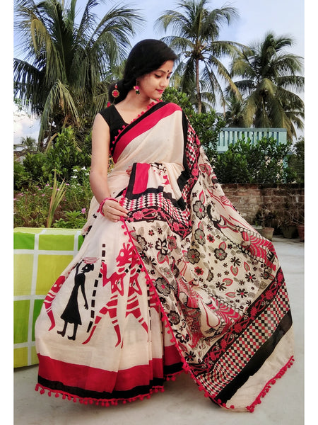 Beige Cotton Saree with Tribal Printed Border-TCS001
