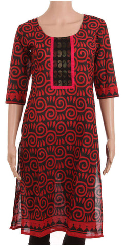 Black And Red Cotton Kurti