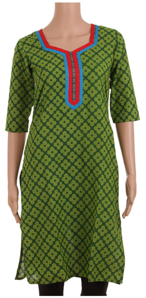 Green Flower Print Kurta