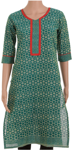 Green Dotted Kurta