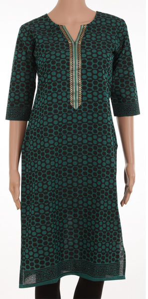 Green And Black Cotton Kurta