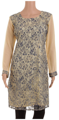 Customizable Beige & Blue Georgette & Lace Designer Kurta
