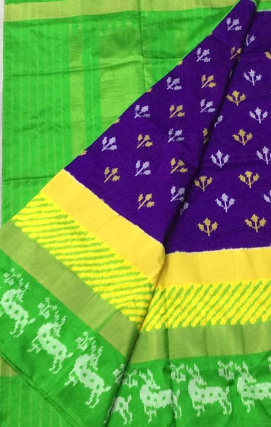 The Purple Magic Ikat-Silk-Saree-DIKSS001 Dark blue and green coloured attractive saree