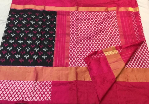 Berry Blush Ikat-Silk-Saree-DIKSS004 Pink and magenta coloured regular wear