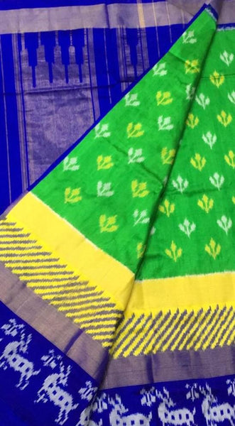 Shamrock Style Ikat-Silk-Saree-DIKSS005 Light green and blue coloured lightweight saree