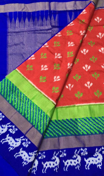 Candid Crimson Ikat-Silk-Saree-DIKSS006 Red and blue coloured lightweight saree