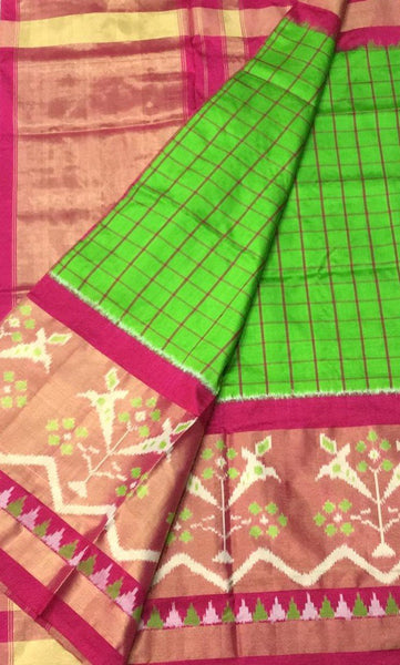 Painted Parrot Ikat-Silk-Saree-DIKSS007 Light green coloured attractive saree