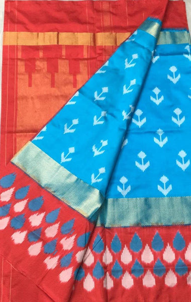 Sapphire Story Ikat-Silk-Saree-DIKSS009 Light blue and red coloured attractive saree