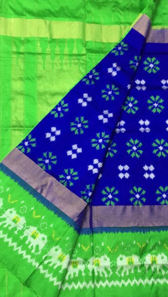 Pristine Peacock Ikat-Silk-Saree-DIKSS010 Blue and green coloured regularwear saree