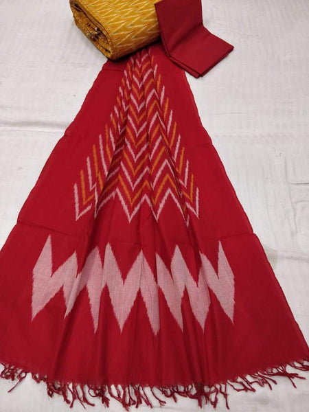 Ikkat Cotton Dress Material Red and Mustard