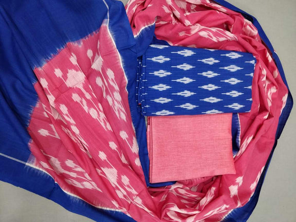 Ikkat Cotton Dress Material Pink and Blue