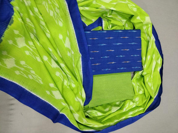Ikkat Cotton Dress Material Parrot Green and Blue
