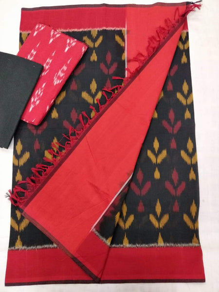 Ikkat Cotton Dress Material Red and Black