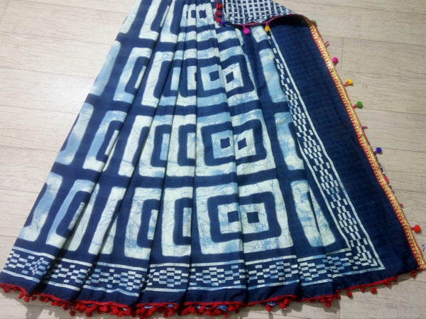 Indigo Splash Cotton Saree with Pom Pom Border-TCS043