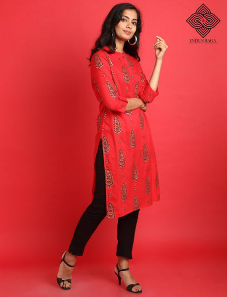 Cambric Foil Print Straight Kurti for Women Red