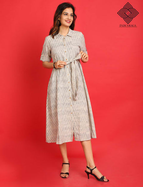 Ikat Print Kurta Dress for Women White
