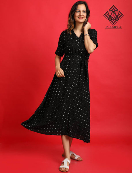 Rayon Printed Anarkali Umbrella Cut Ghera Kurti For Women Black