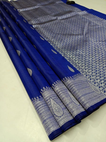 Ink Blue Pure Silk Saree