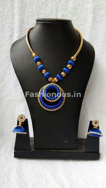 Ink Blue Chandbali Pendant Silk Thread Jewellery Set-STJS-010